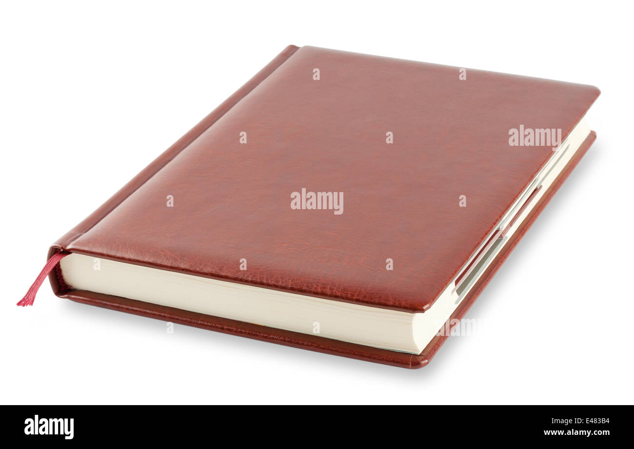 Brown diary with bookmark isolated on white background - Stock Image