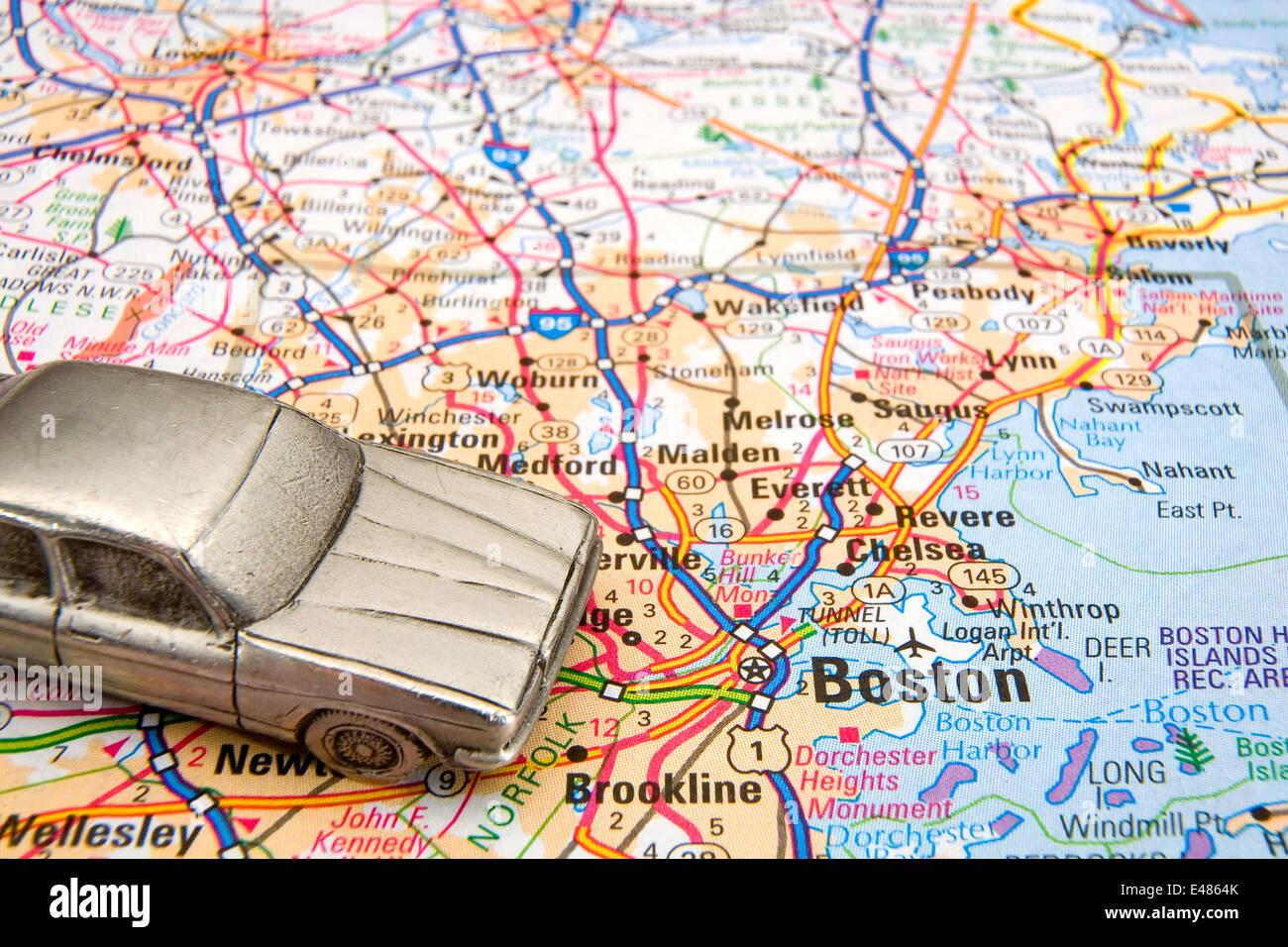 Boston Road Map Model sedan on a road map of Boston MA Stock Photo: 71480547   Alamy