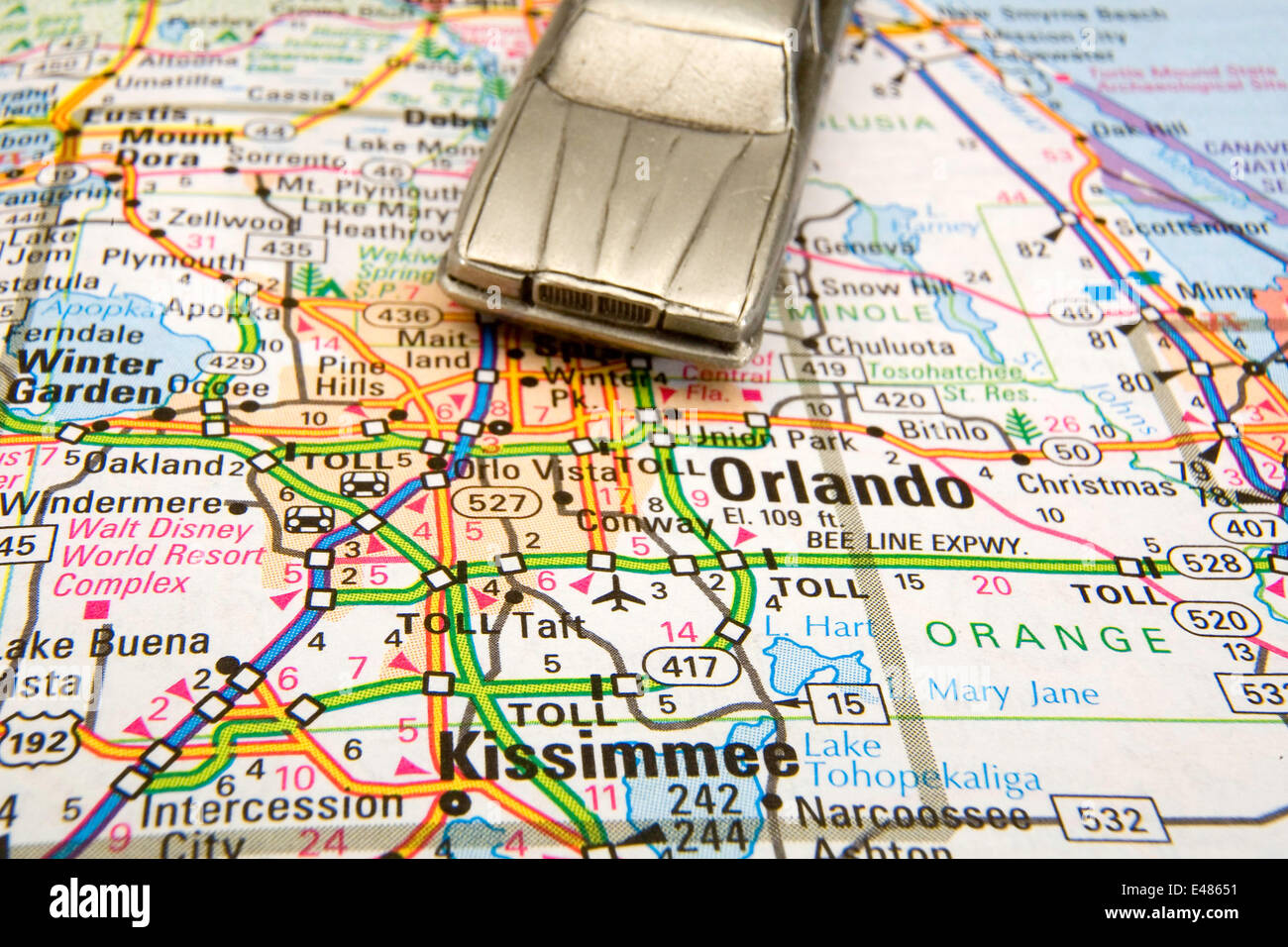 Model sedan on a road map of Orlando and Kissimmee FL Stock Photo