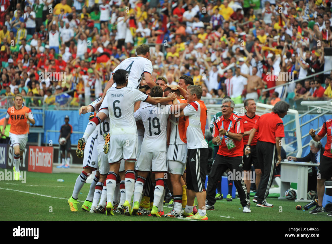 Deutsche Mannschaft im Torjubel, Deutschand vs. Portugal (4:0), WM 2014, Salvador da Bahia, Brasilien. Editorial - Stock Image