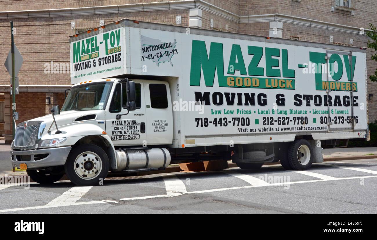 A Truck From The Mazel Tov Moving U0026 Storage Business In Williamsburg,  Brooklyn, New