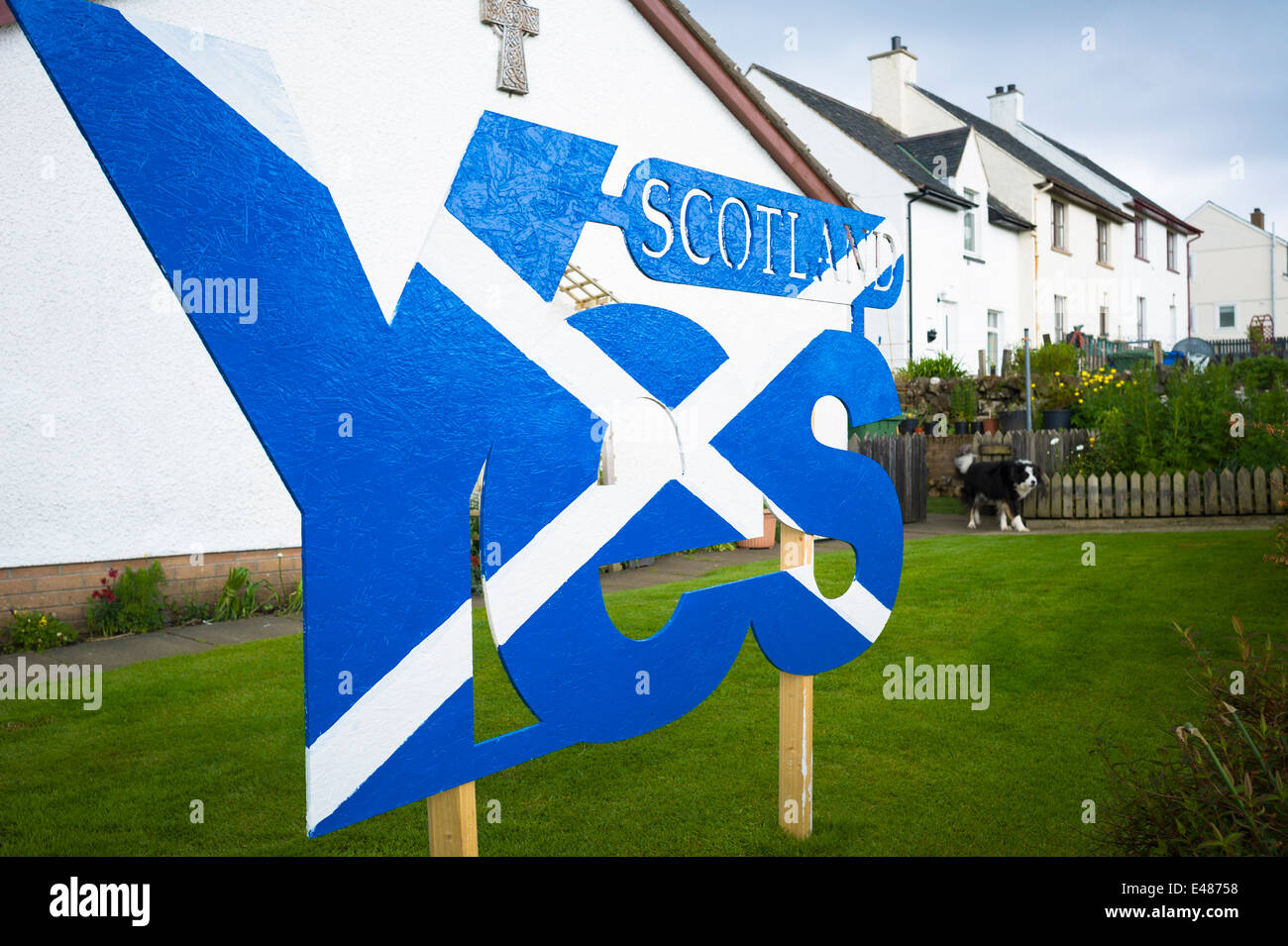 Saltire national flag of St Andrew, Scottish Independence Referendum Debate campaign for YES vote for separate SCOTLAND - Stock Image