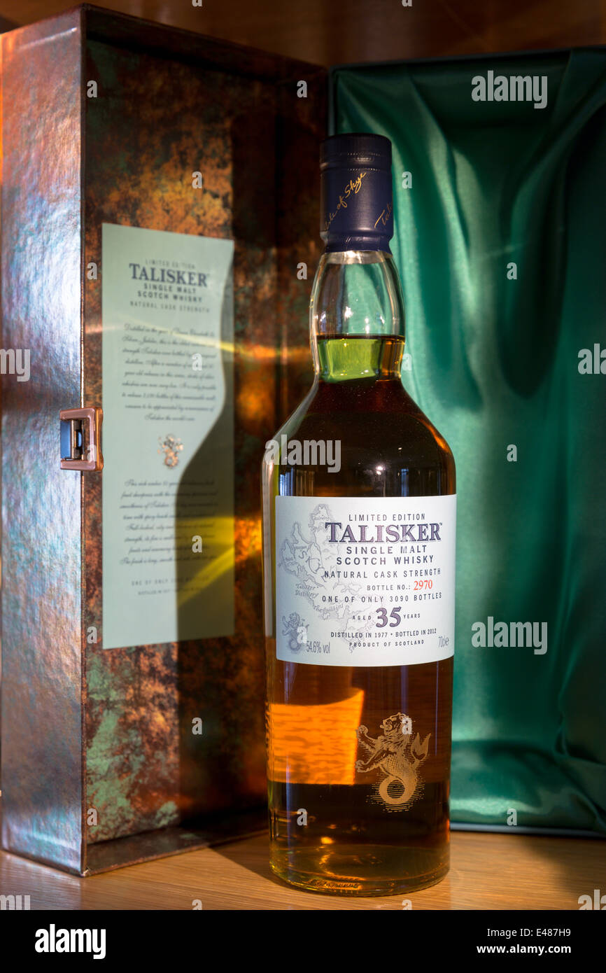 75cl bottle 35 year old Talisker single malt Scotch Whisky and presentation case at Distillery in Carbost Isle of - Stock Image