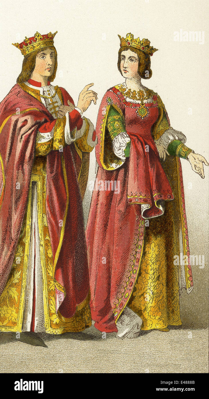 The figures here represent King Ferdinand and Queen Isabella of Spain. The illustration dates to 1882.  sc 1 st  Alamy & The figures here represent King Ferdinand and Queen Isabella of ...