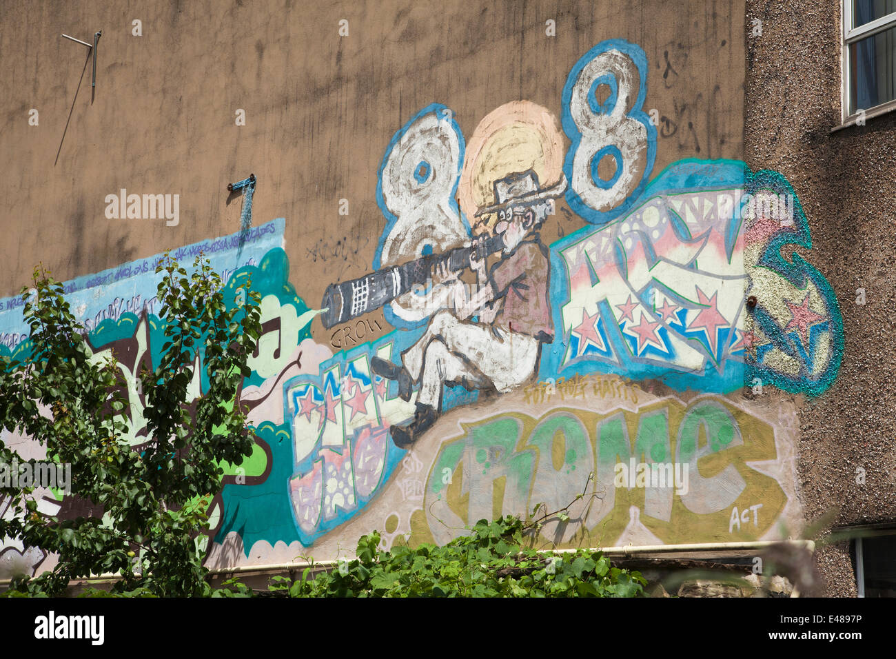 Shoreham Street, Sheffield, U.K. 5th July 2014. A mural of Rolf Harris on the Sheffield Archives building is to be painted over after the entertainer and artist was jailed for 5 years and 9 months for indecent assault. Rolf Harris painted the self portrait in the 1990's on the building in Sheffeild city centre. Credit:  Mark Richardson/Alamy Live News Stock Photo