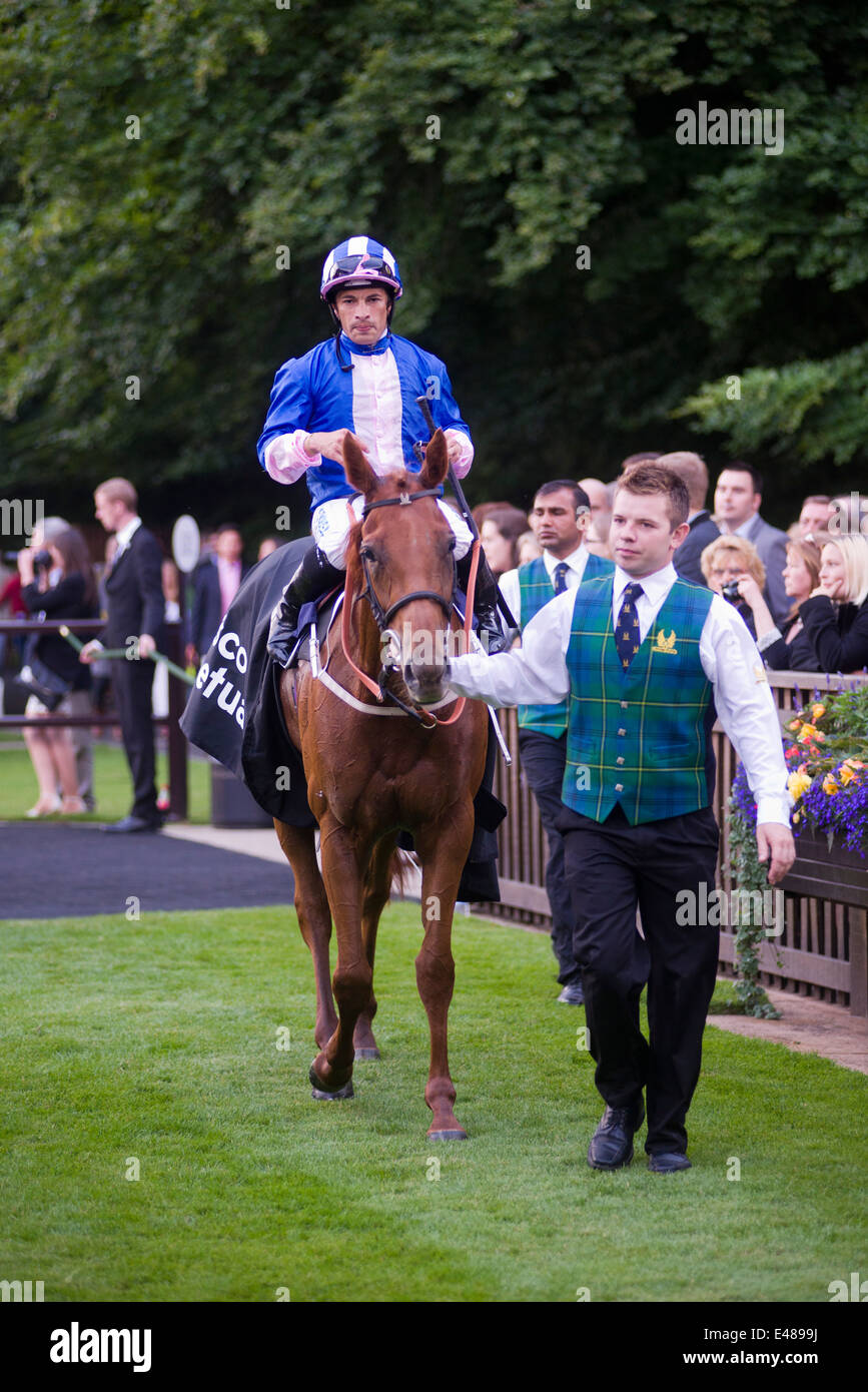 Maid in Rio and Silvestre De Sousa winner at Newmarket July course - Stock Image