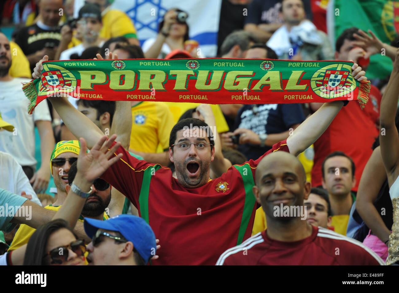 WM 2014, Salvador da Bahia, portugiesische Fans, Deutschland vs. Portugal. Editorial use only. - Stock Image