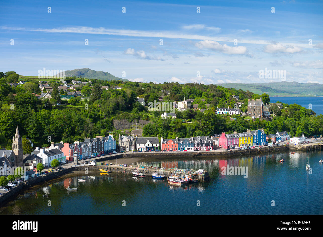 Multi-coloured buildings on the waterfront at Tobermory the capital city of the Isle of Mull in the Inner Hebrides - Stock Image