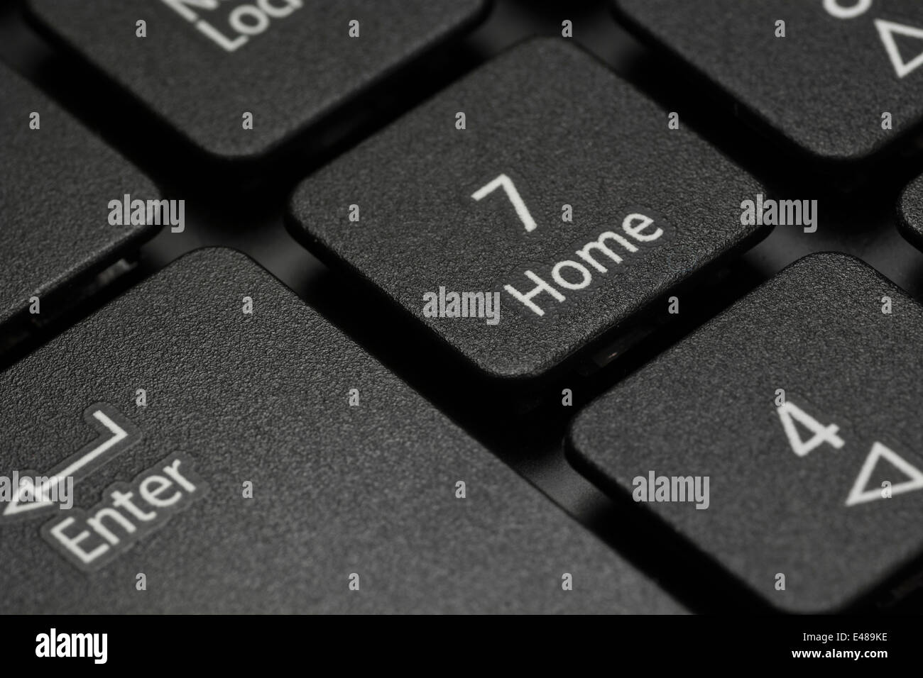 Macro-photo of computer laptop / desktop numeric keys detail. Exact focus point is 'Home' under the 7. - Stock Image