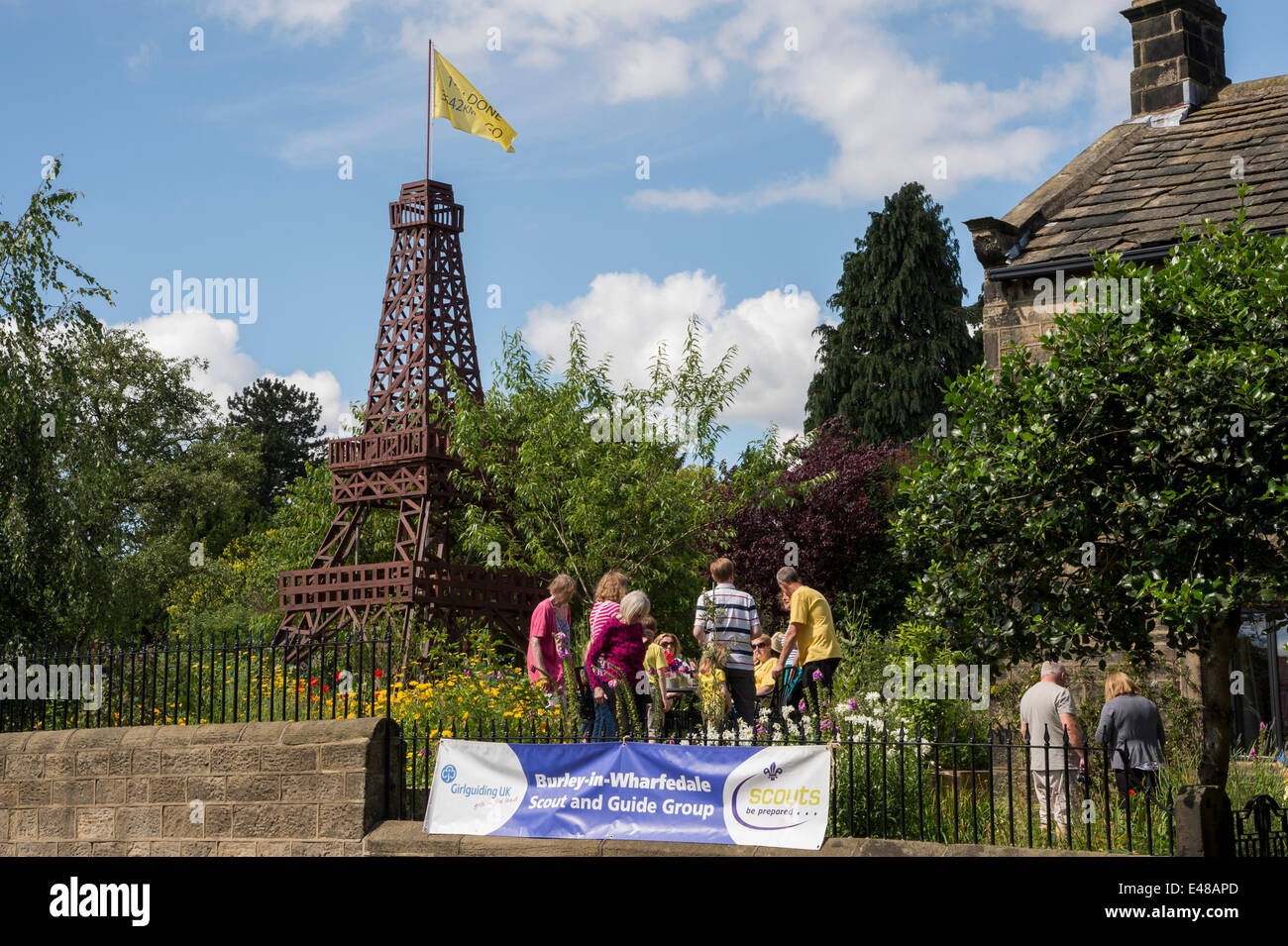 Impressive wooden Eiffel Tower model built to celebrate Le Tour in Yorkshire, is central feature of private garden, - Stock Image