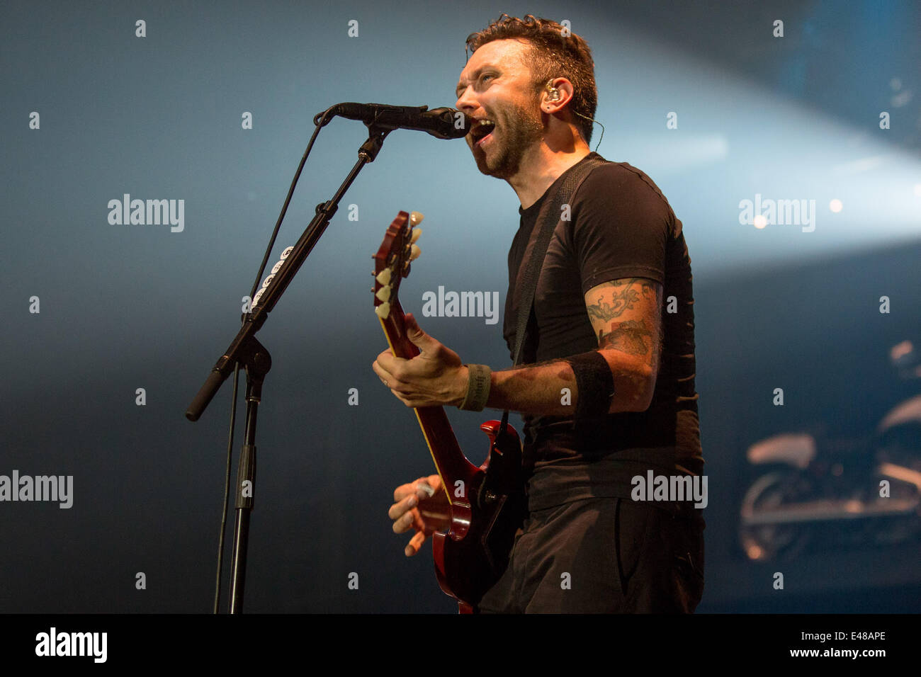 July 3, 2014 - Milwaukee, Wisconsin, U.S - Vocalist TIM MCILRATH of the band Rise Against performs live at the 2014 - Stock Image