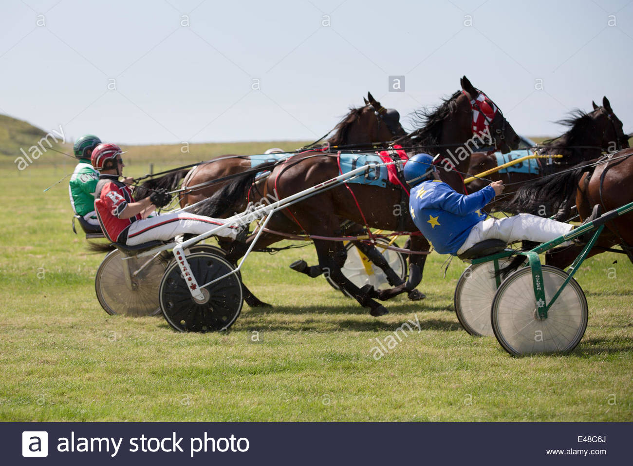 Aberystwyth, Wales, UK. July 5th 2014.  The Ceredigion Trotting Club held a harness racing event in glorious sunshine Stock Photo