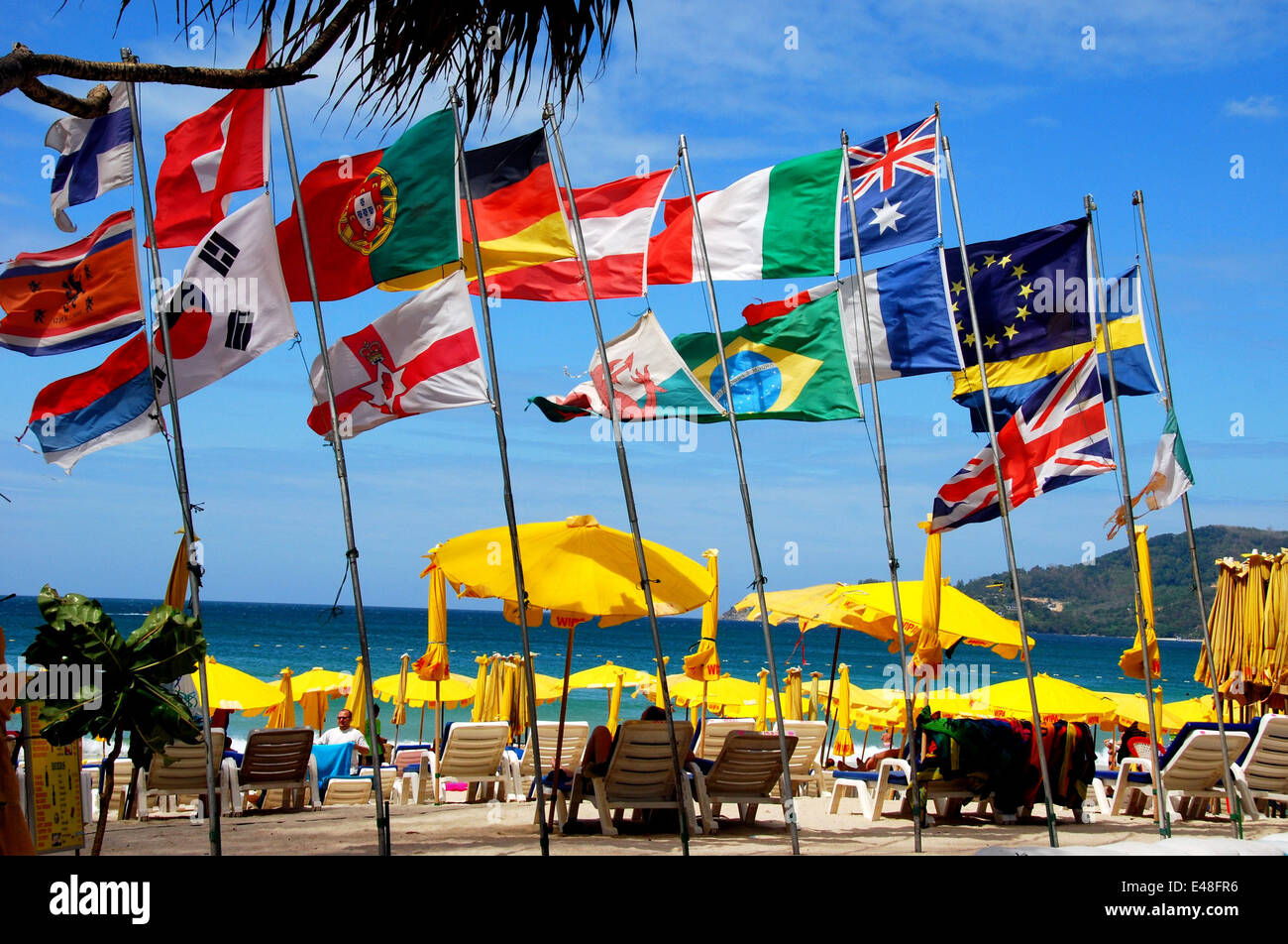 patong city thailand clourful flages of many nations mostly stock