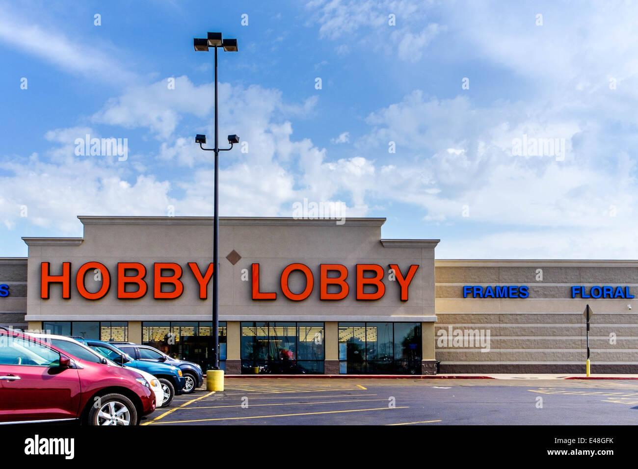 The exterior of a Hobby Lobby store in Oklahoma City, Oklahoma. USA. - Stock Image