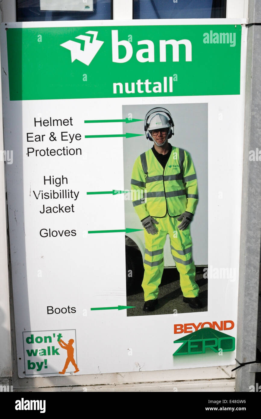 Health and safety Construction site access notice Stock Photo
