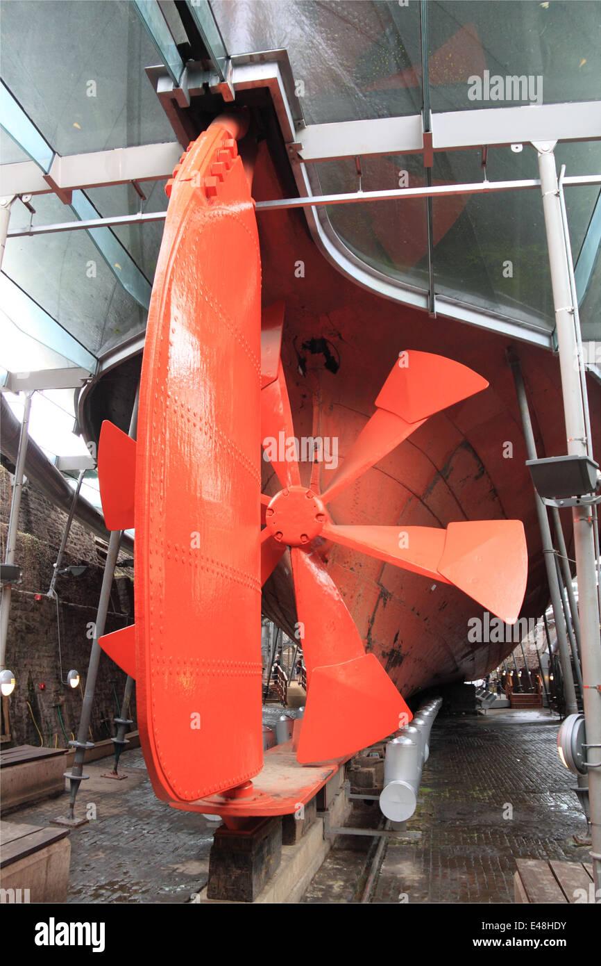 Rudder and propeller, SS Great Britain, Bristol Docks, England, Great Britain, United Kingdom, UK, Europe Stock Photo