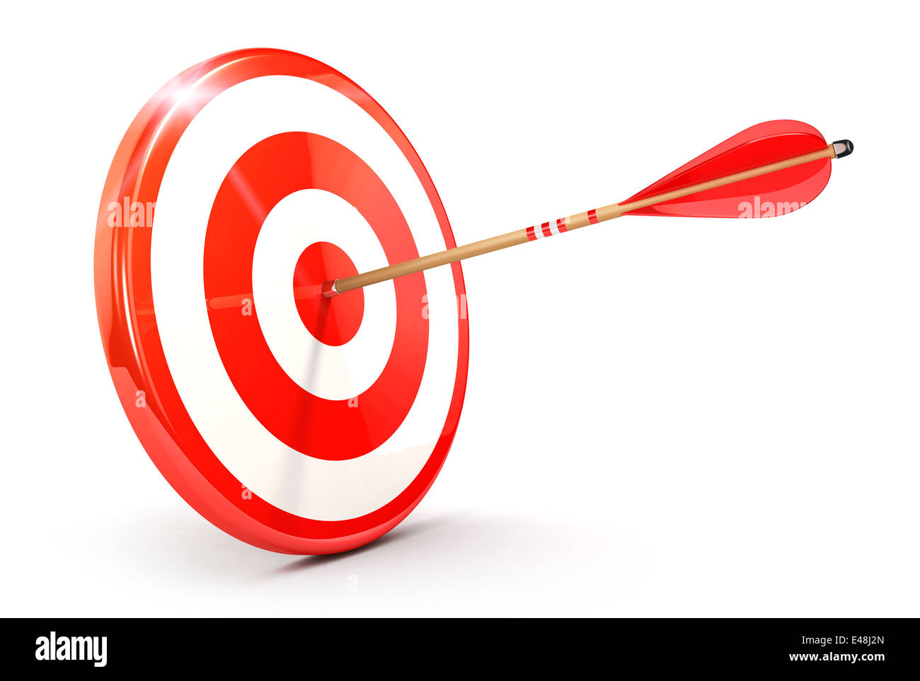 3d arrow on target, isolated white background, 3d image Stock Photo