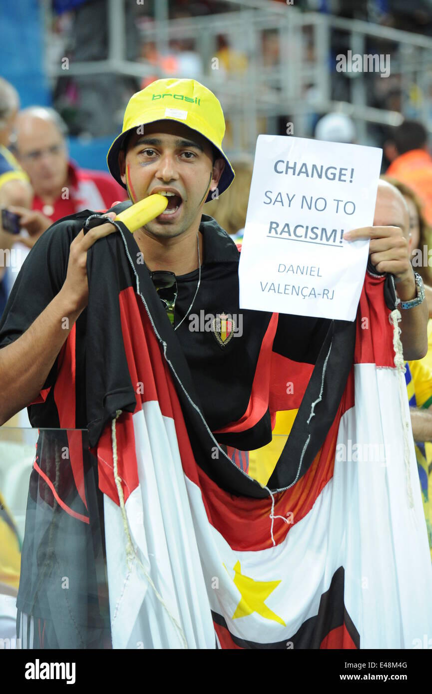 Sao Paulo, Brazil. 26th June, 2014. Belgium fans (BEL) Football/Soccer : A Belgium fan shows a sign against racism - Stock Image