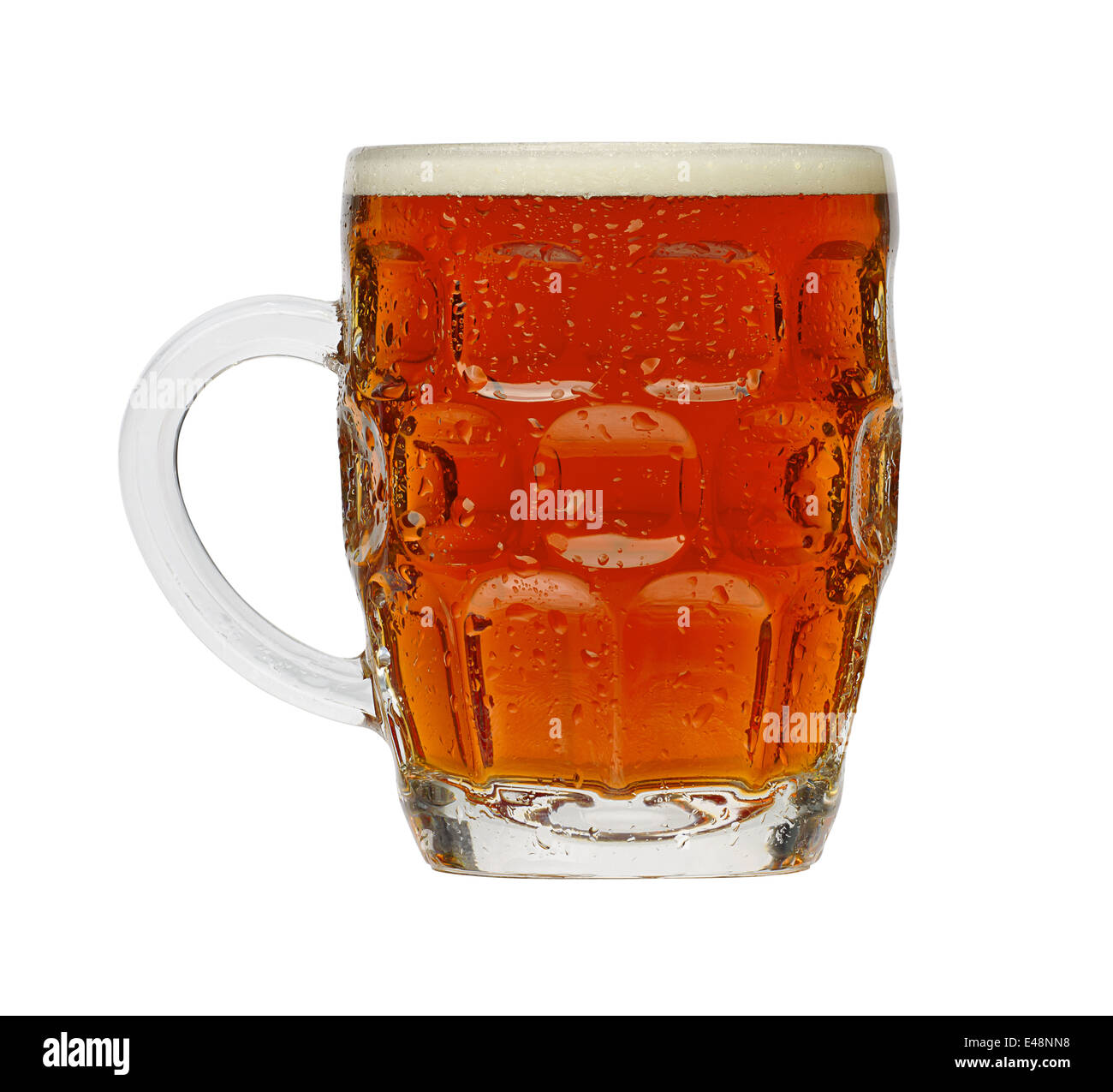 Traditional Pint of Beer in a typical British dimple glass - Stock Image