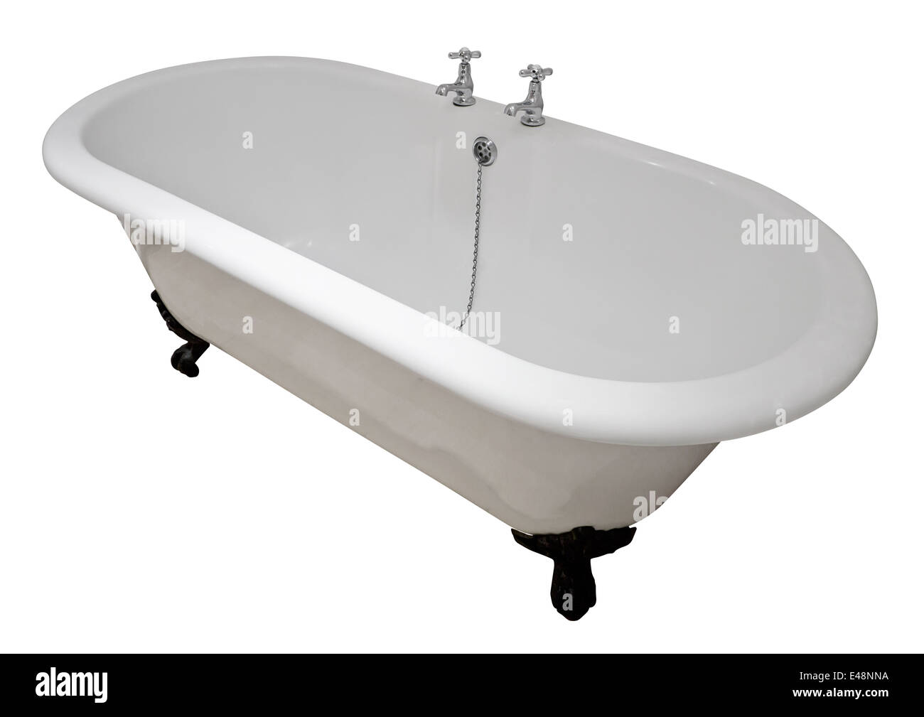 Luxury white flat rim roll top clawfoot bathtub isolated against a white background - Stock Image