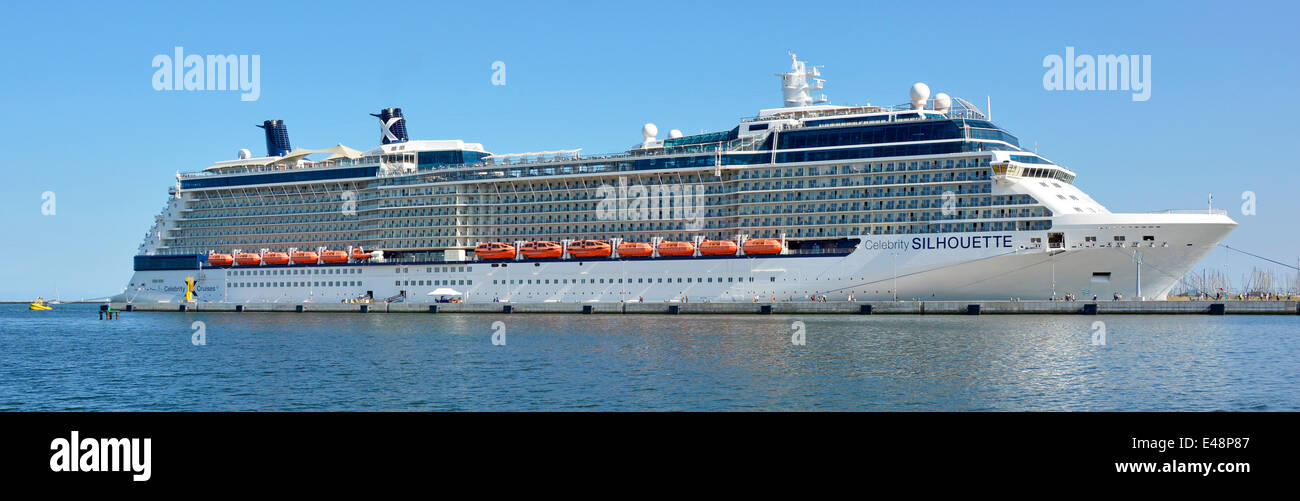 Celebrity Cruises 'Silhouette' liner docked at Port Corsini at the Ravenna Cruise terminal on the Adriatic - Stock Image