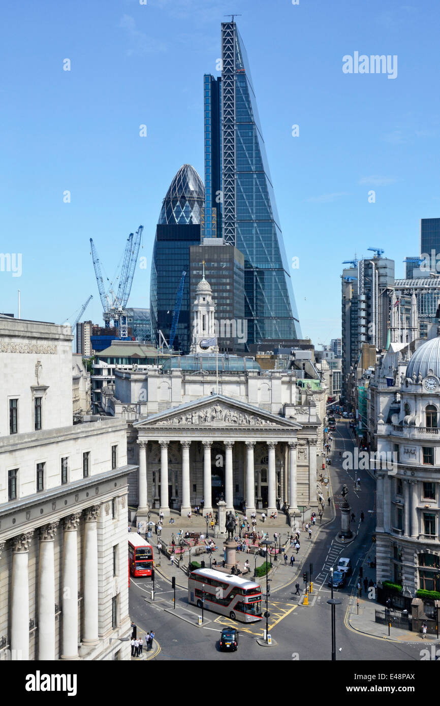 Bank road junction in the city of London with Leadenhall Cheese Grater office block towering over the Royal Exchange Stock Photo