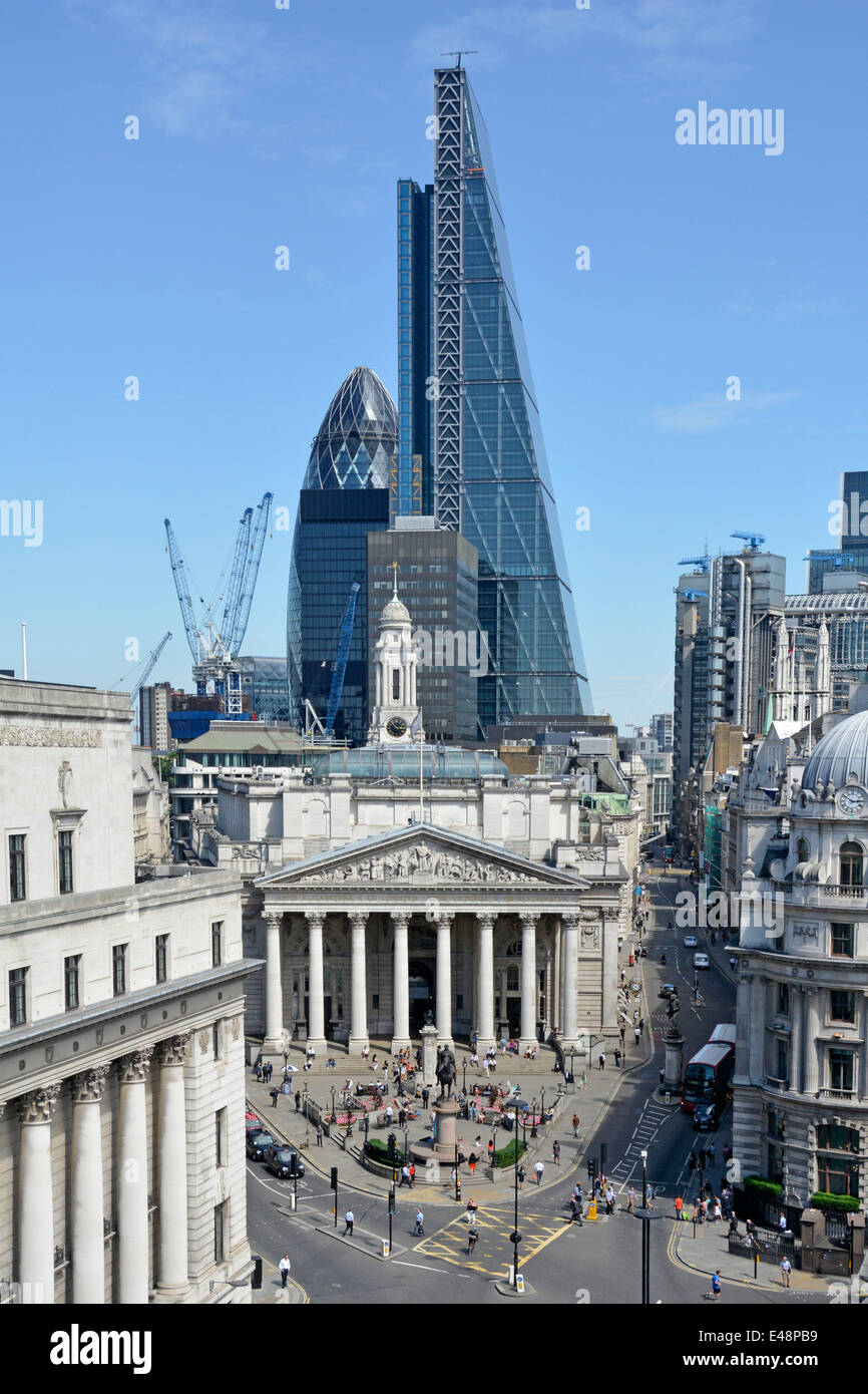 Bank road junction in the city of London with Leadenhall Cheese Grater office block towering over the Royal Exchange - Stock Image