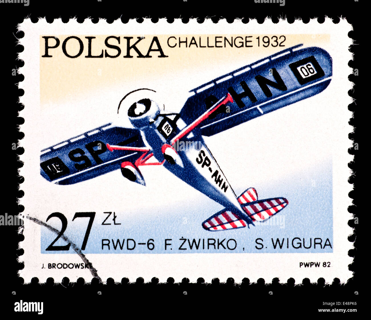 Postage stamp from Poland depicting an RWD-6 monoplane, for victories in the Challenge Trophy Flights. - Stock Image