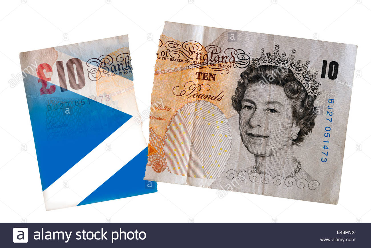 Ten pound note torn apart with Scottish independence, Dorset England Britain Europe UK GB - Stock Image