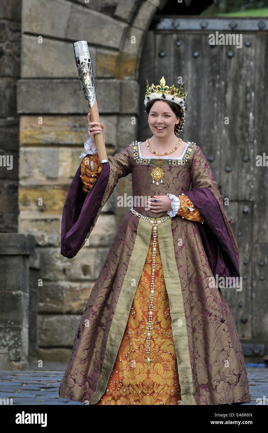 Stirling, Scotland, UK. 6th July, 2014. The Queens Baton Relay travels through Stirling. The baton is taken on a Stock Photo