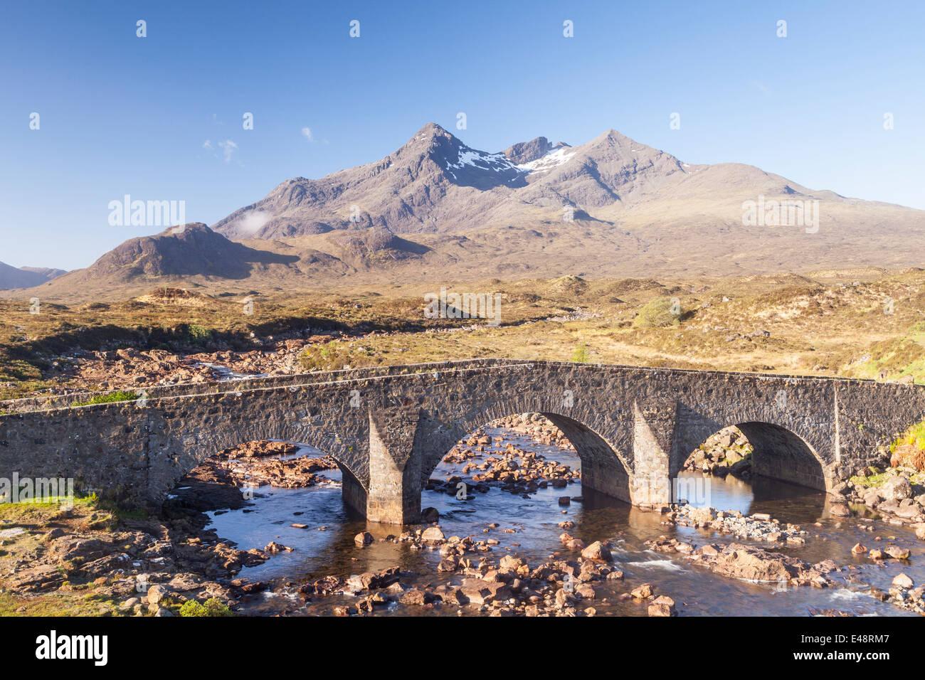 Sgurr nan Gillean from Sligachan on the Isle of Skye, Inner Hebrides, Scotland. Stock Photo