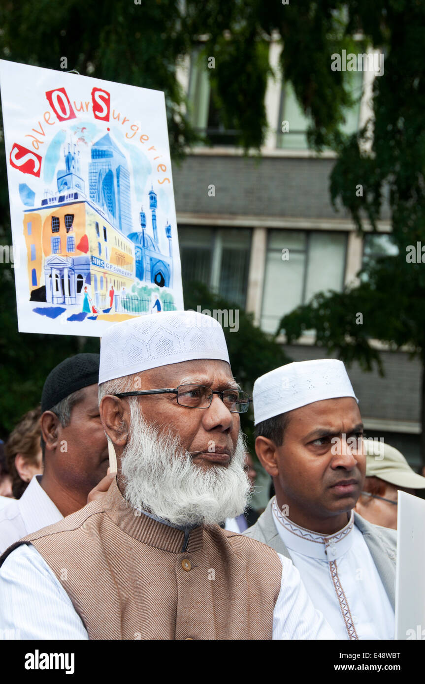 East End, London July 5th 2014. Muslim men. Rally and march against proposed cuts to National Health Service doctors' - Stock Image