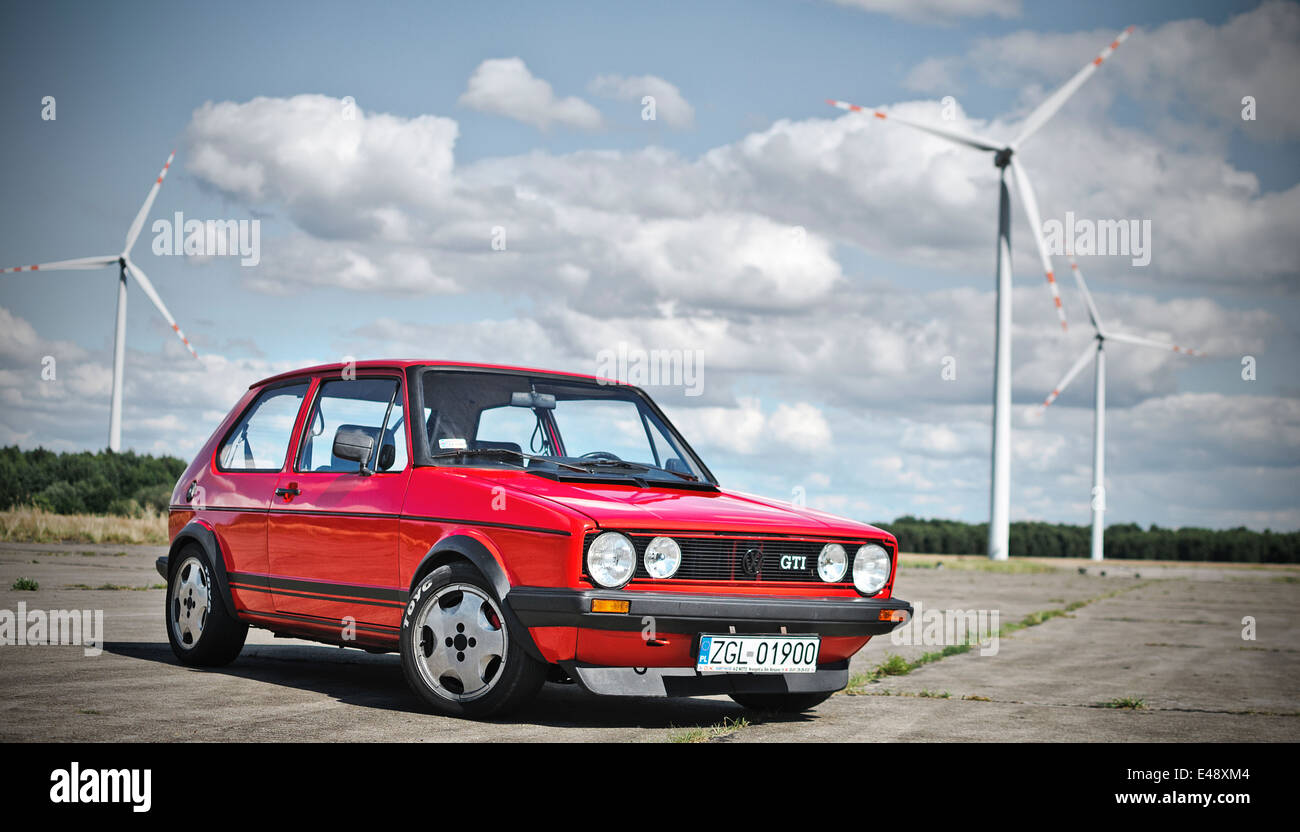 red vw golf gti - Stock Image