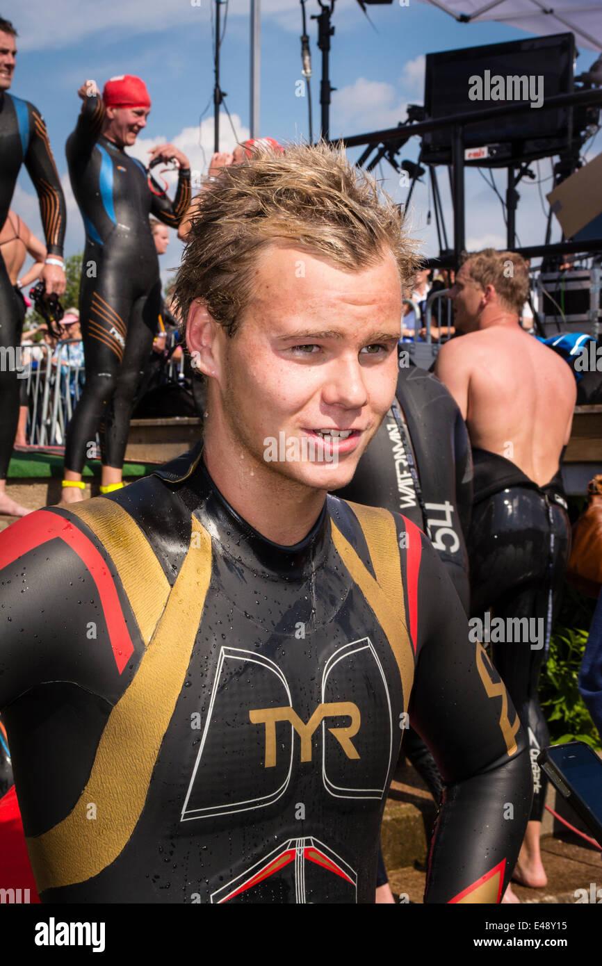Winner of Vansbrosimningen, Sweden. Gusten Eriksson from Motala SS. Stock Photo