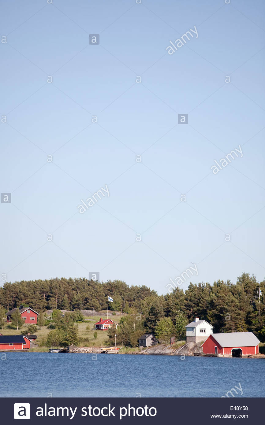 Traditional view in the archipelago of Finland - Stock Image