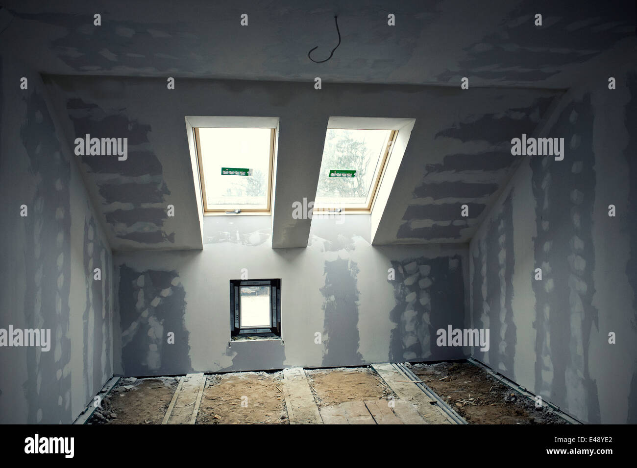 Renovated room in the attic Stock Photo