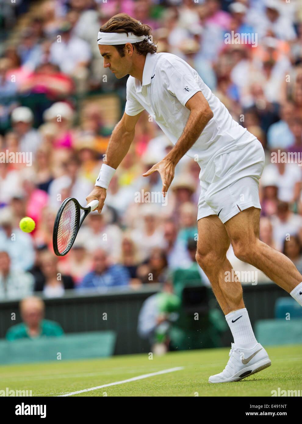 London, UK. 6th July 2014.  Tennis, Wimbledon, AELTC, Men's Singles Final:  Novak Djokovic (SRB) vs Roger Federer - Stock Image