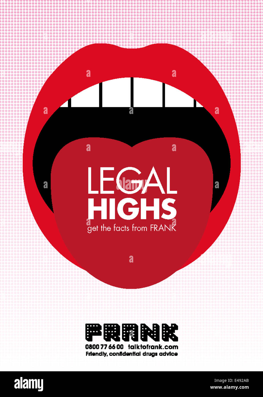 Poster from United Kingdom reduction of drug misuse and dependence FRANK drawing attention to the dangers of legal - Stock Image