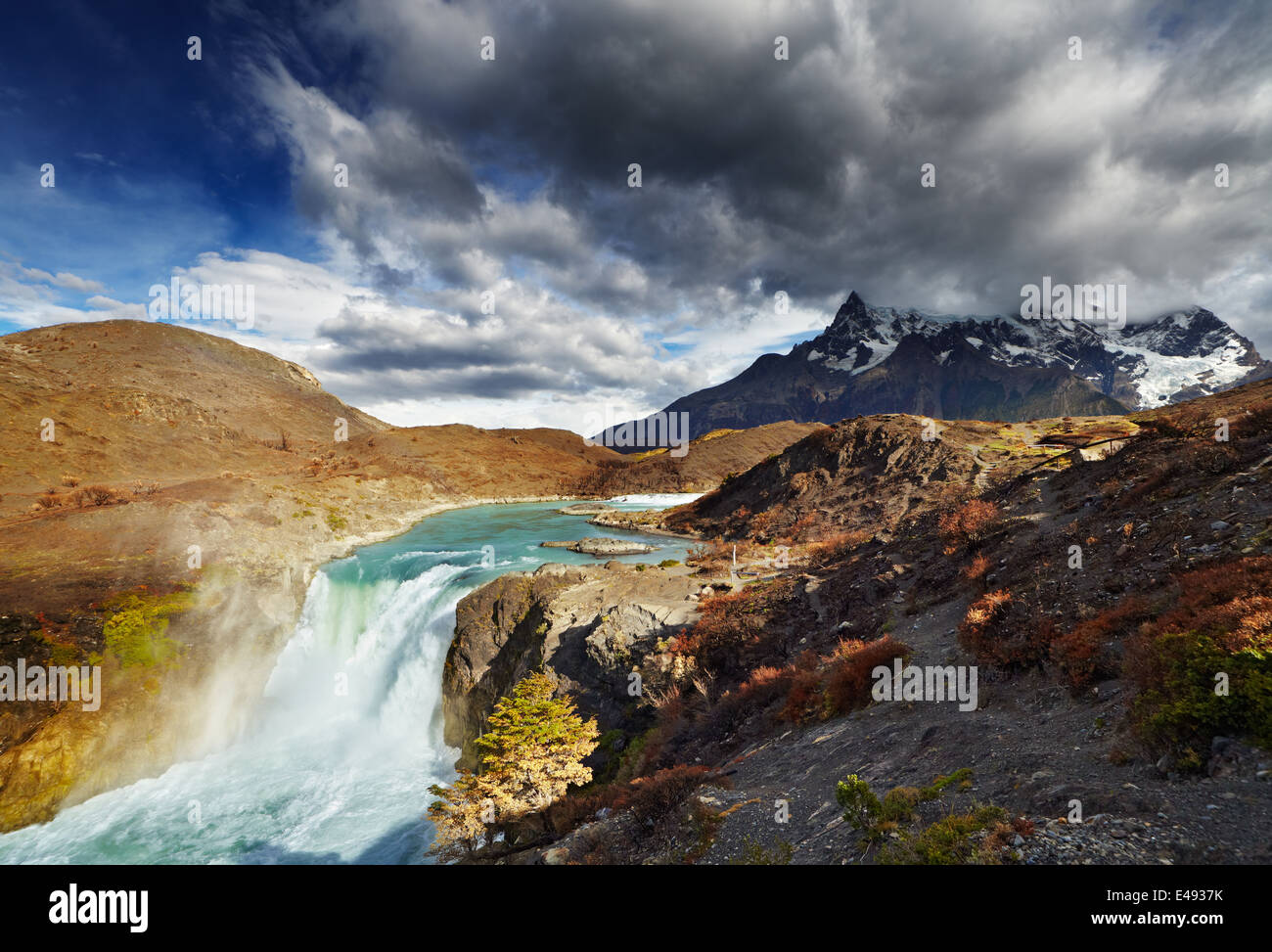 Waterfall in Torres del Paine National Park, Patagonia, Chile - Stock Image
