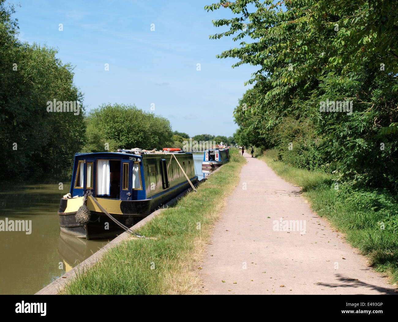 Towpath along the Kennet and Avon Canal, Devizes, Wiltshire, UK - Stock Image