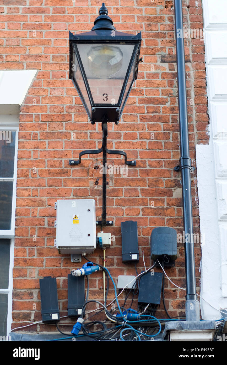 Installations and electrical wiring for street lighting Stock Photo
