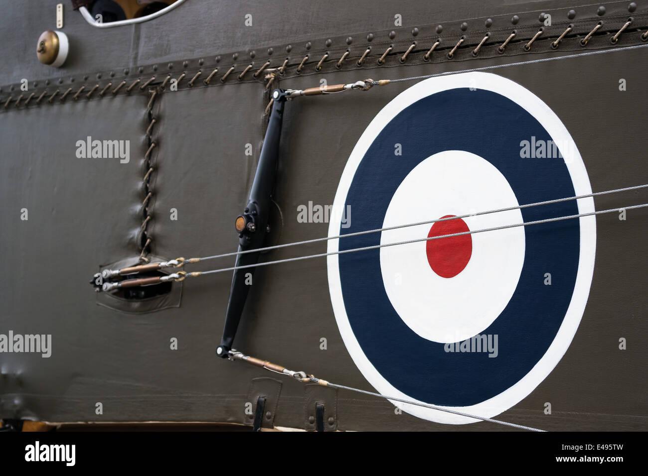 RAF roundel on the side of a plane at Shuttleworth Aerodrome, UK - Stock Image