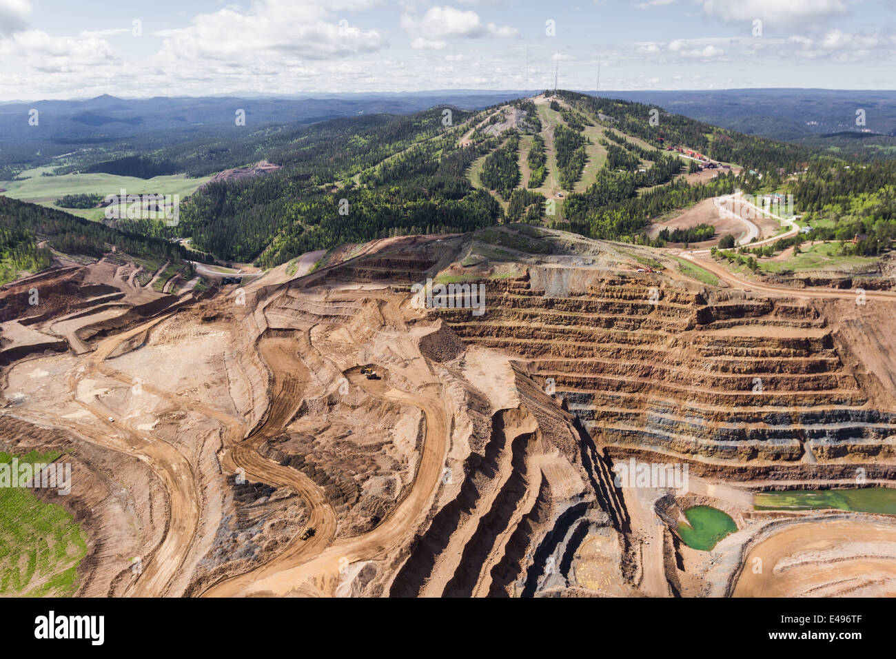 aerial view of an open pit mine in South Dakota - Stock Image