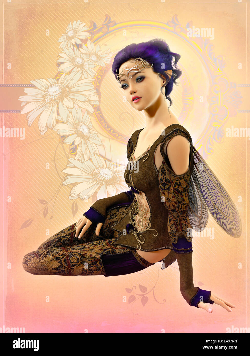 3d computer graphics of a cute fairy with purple hair and dragonfly wings - Stock Image