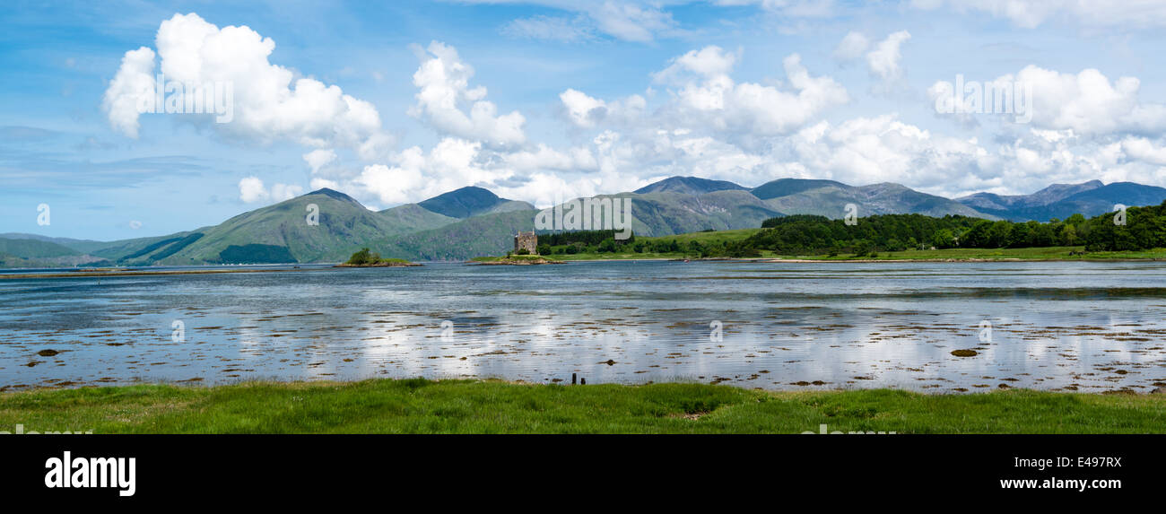 Panorama of Stalker Castle in Scotland - Stock Image