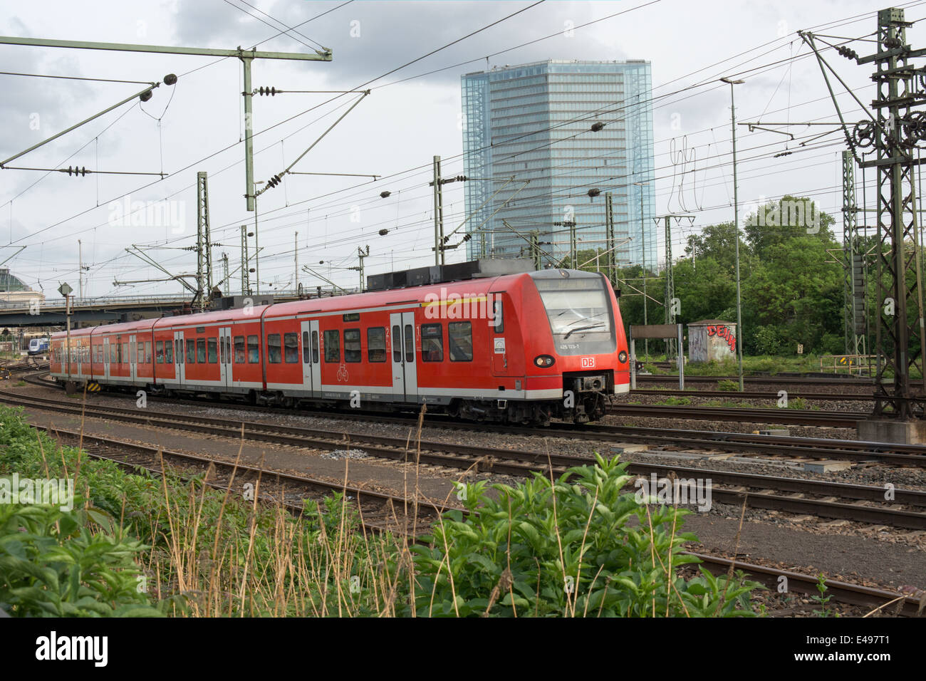 A S Bahn train leaves Mannheim station. It is operated by Deutsche Bahn Stock Photo