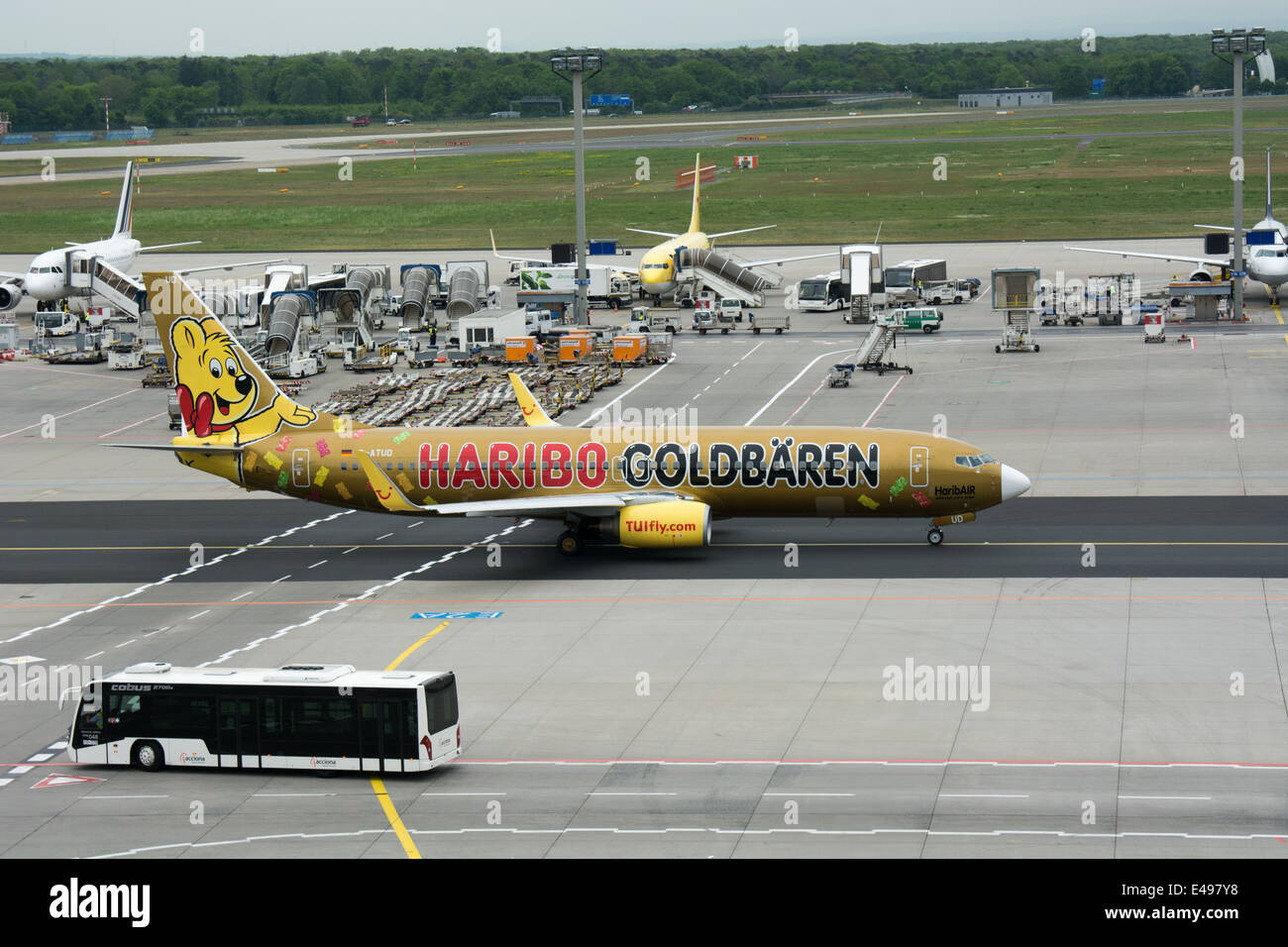 A specially painted Boeing 737-8K5 of TUI Fly advertises Haribo Goldbären golden bear. Seen at Frankfurt airport. - Stock Image