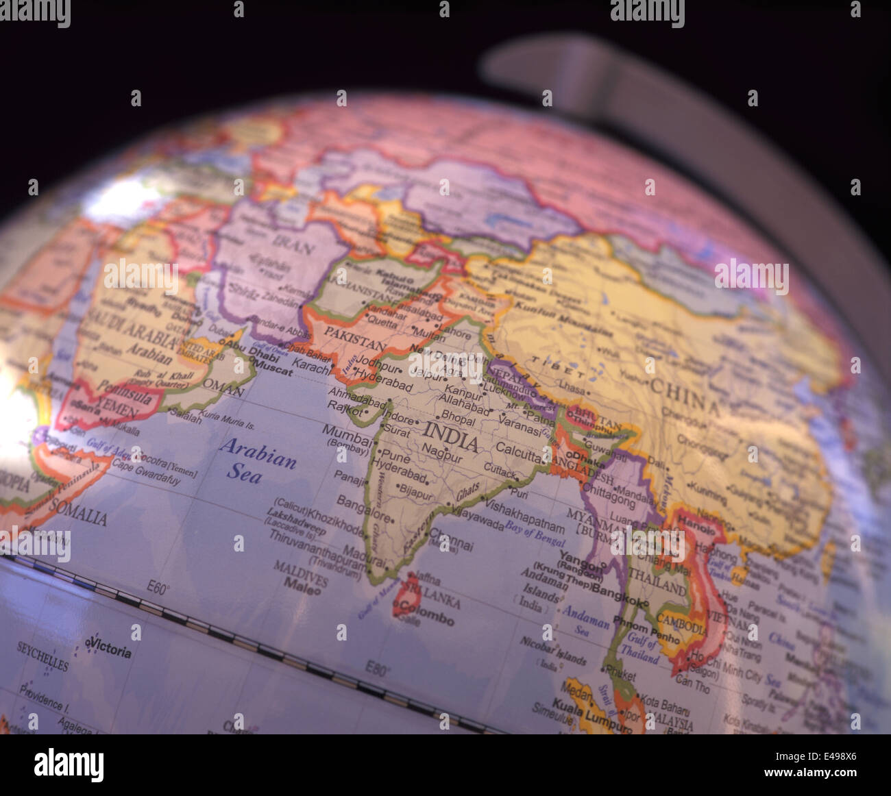 india and central asia shown on a mapglobe india focussed stock