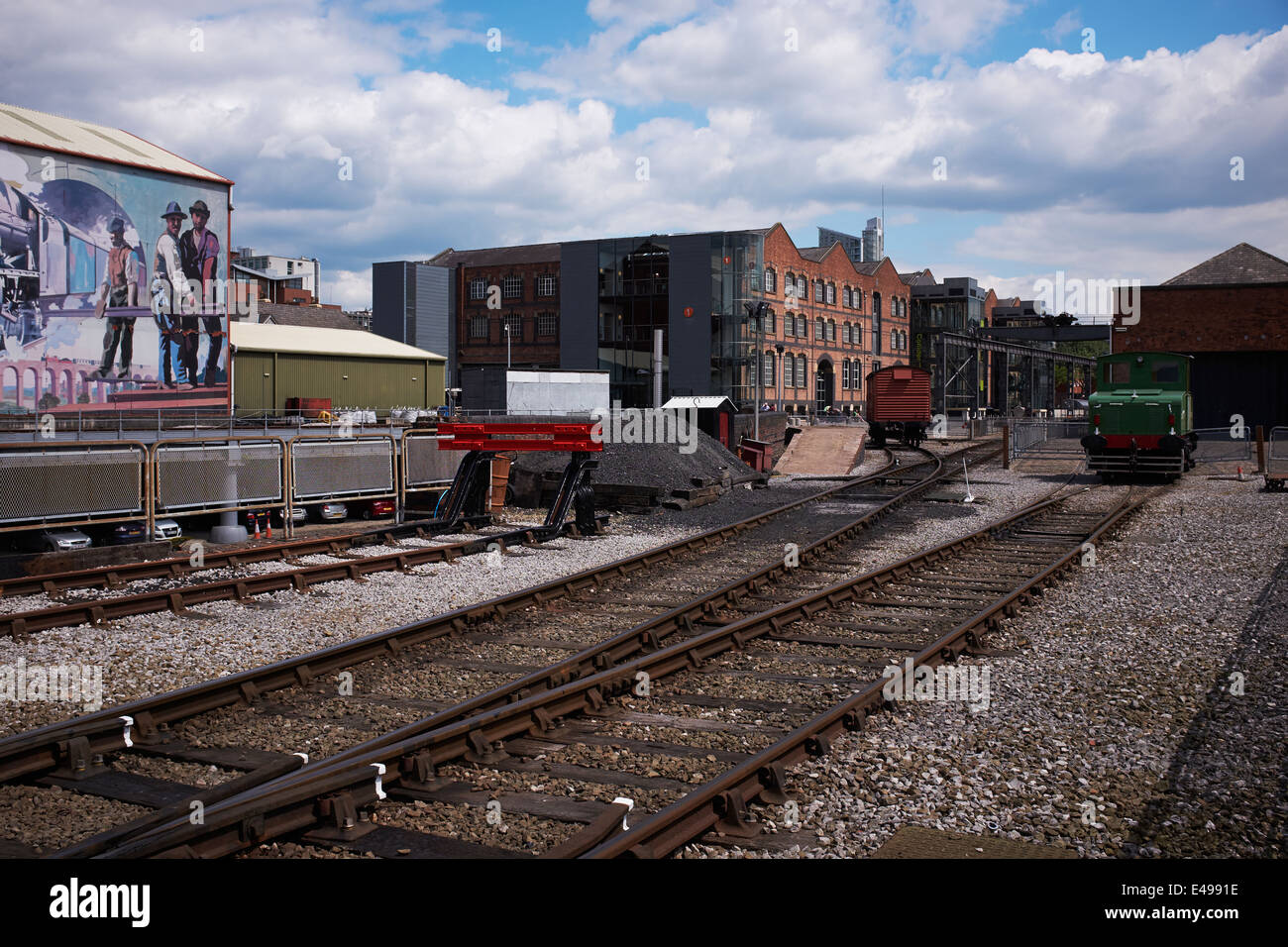 Train tracks at the Museum of Science and Industry in Manchester city centre UK - Stock Image