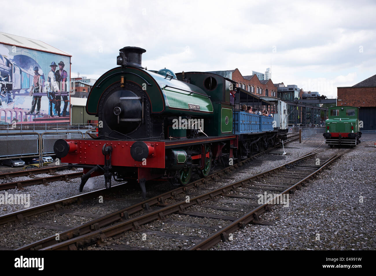 Steam train at the Museum of Science and Industry in Manchester city centre UK - Stock Image
